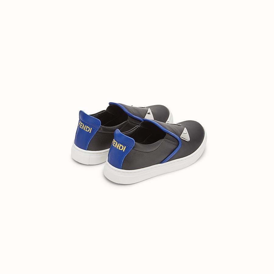 FENDI SCHUHE - Slipper-Sneaker aus schwarzem Nappaleder für Jungen - view 3 detail