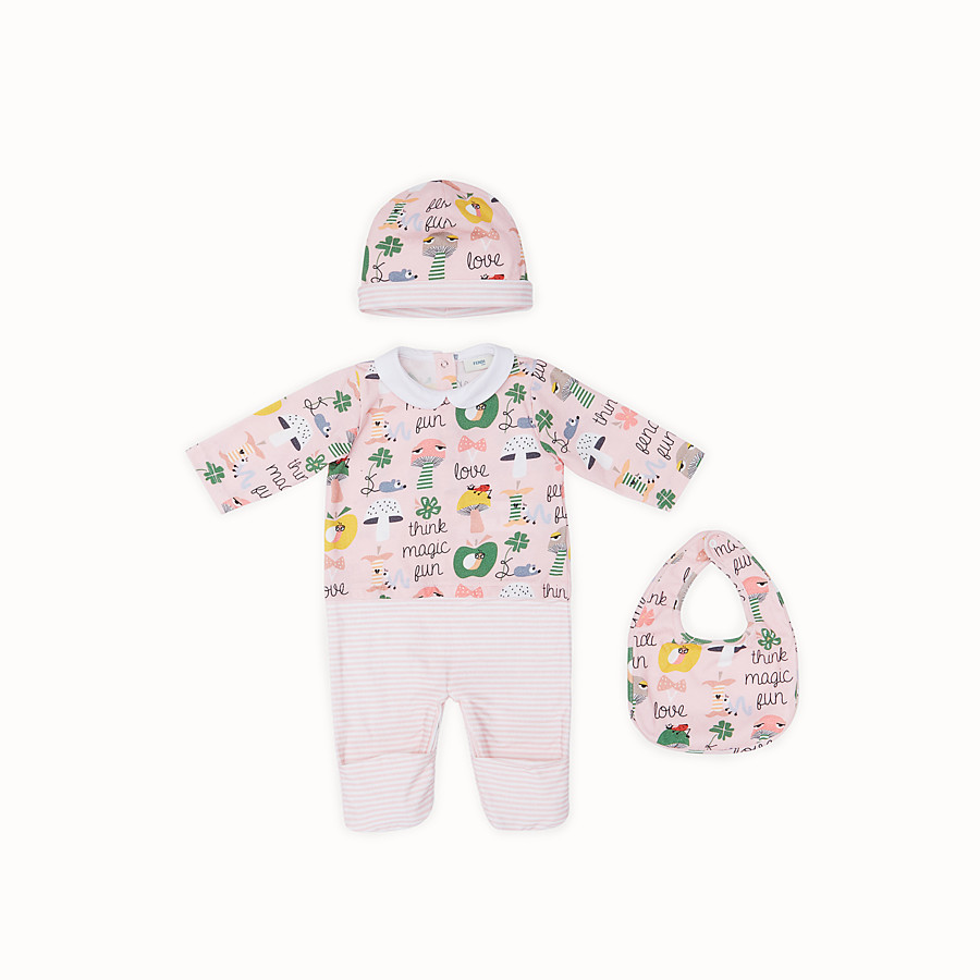 FENDI BABY BUNX KIT - Printed and multicolor cotton Baby Girl Kit - view 1 detail