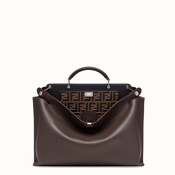 FENDI PEEKABOO ICONIC ESSENTIAL - Brown calf leather bag - view 1 small thumbnail