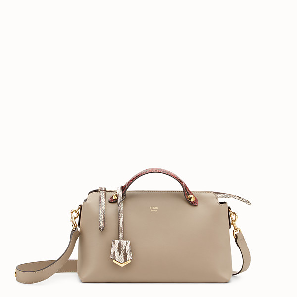 FENDI BY THE WAY REGULAR - Beige leather Boston bag with exotic details - view 1 small thumbnail