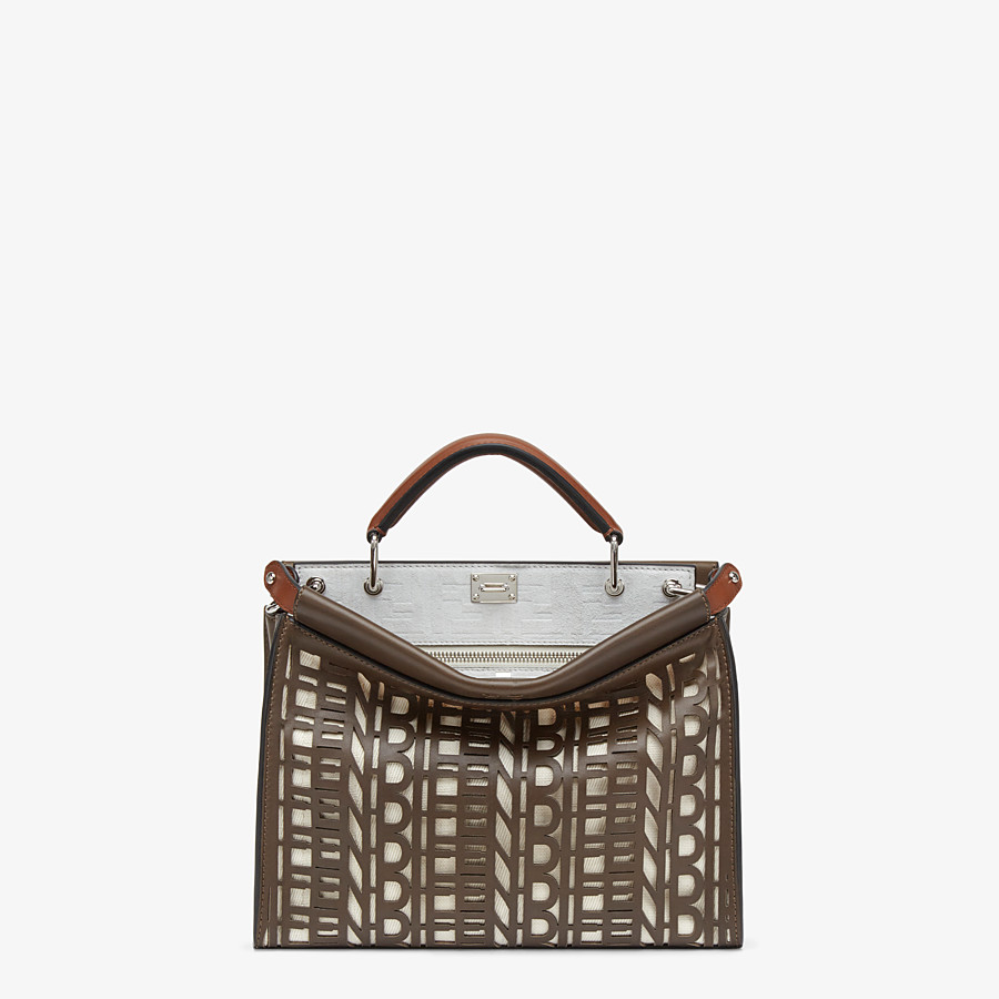 FENDI PEEKABOO ICONIC FIT MINI - Tasche aus Leder in Braun - view 1 detail