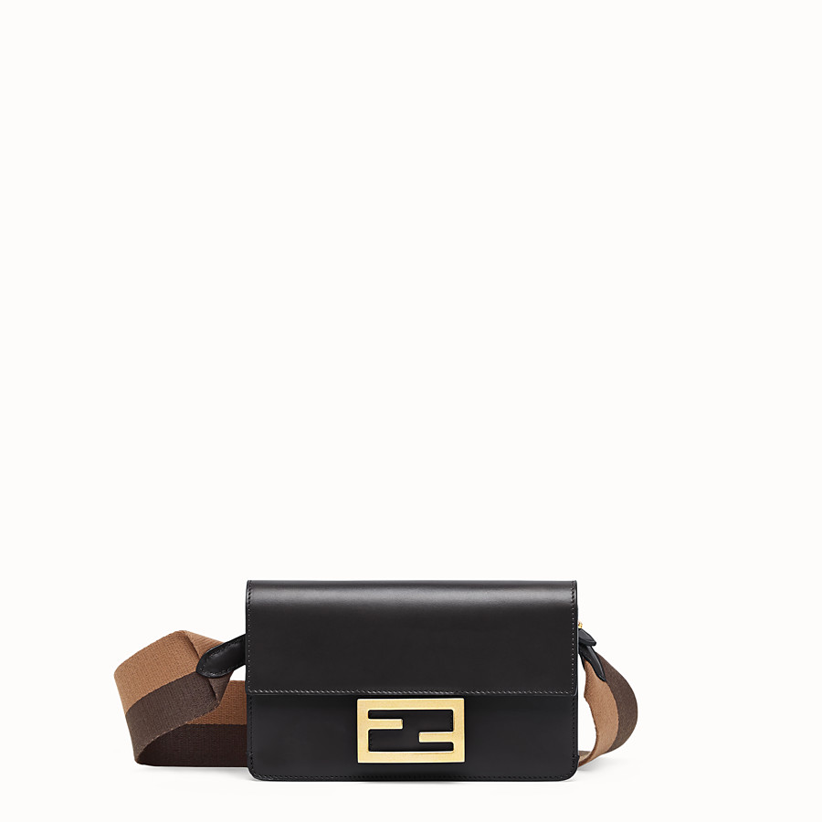 FENDI FLAT BAGUETTE - Black leather mini-bag - view 1 detail