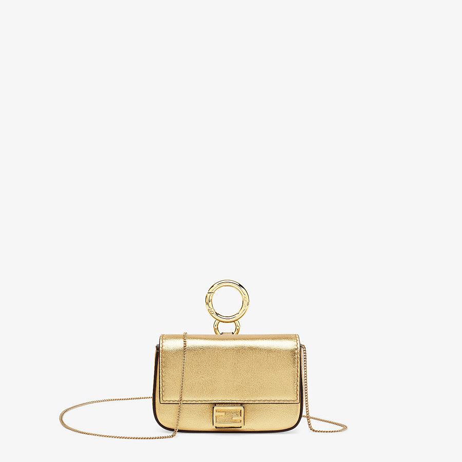 FENDI NANO BAGUETTE - Charm in golden leather - view 1 detail