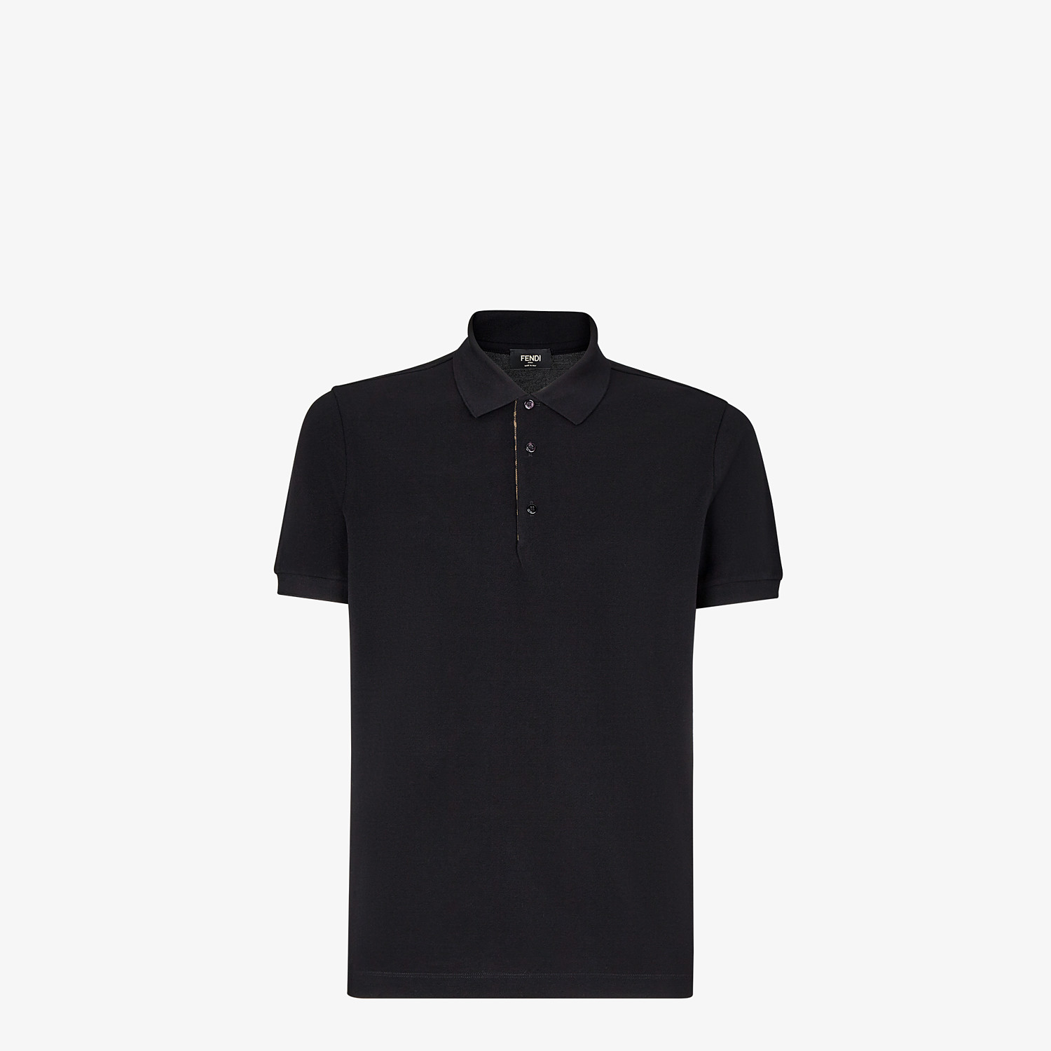 FENDI POLO SHIRT - Black piqué polo shirt - view 1 detail