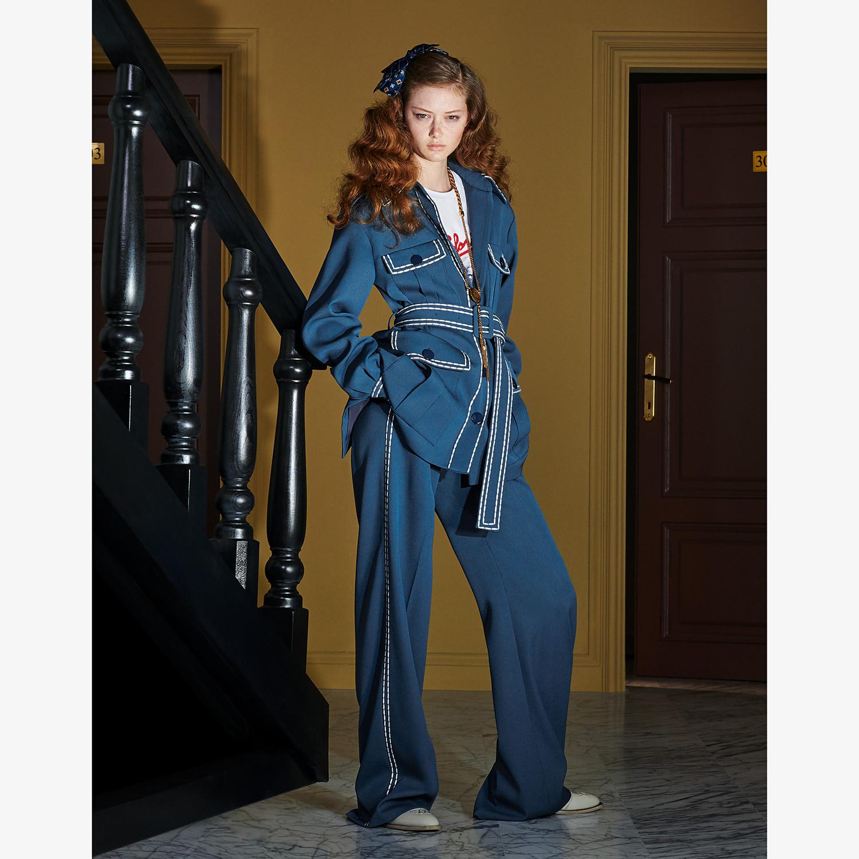 FENDI TROUSERS - Blue wool trousers - view 4 detail