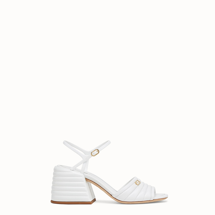 FENDI SLINGBACK - White leather sandals - view 1 detail
