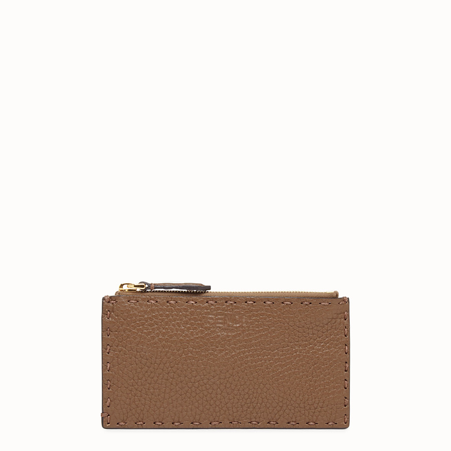 FENDI CARD POUCH - Brown leather pouch - view 1 detail