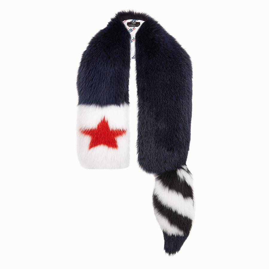 FENDI TALE SCARF - Blue fox fur collar - view 1 detail