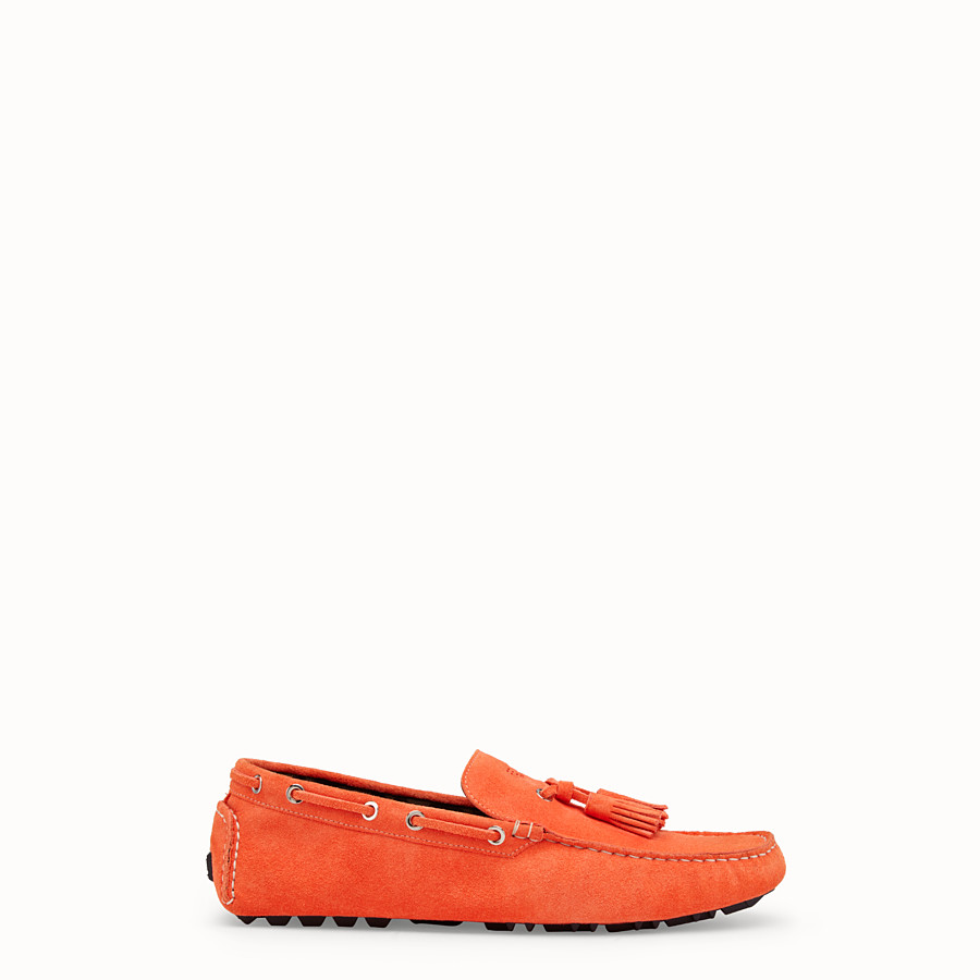 FENDI LOAFERS - Orange leather drivers - view 1 detail