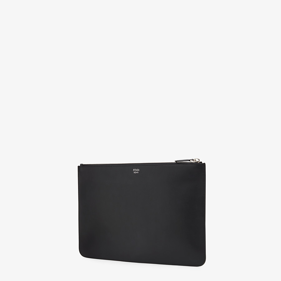 FENDI POUCH - in black leather and metal - view 2 detail