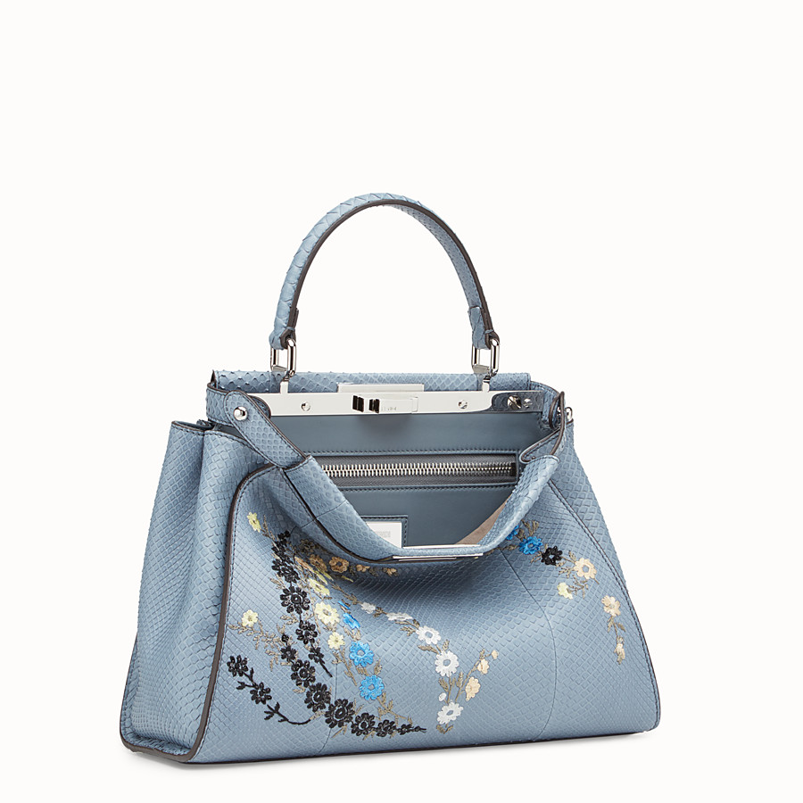 FENDI PEEKABOO REGULAR - Light blue python bag - view 2 detail