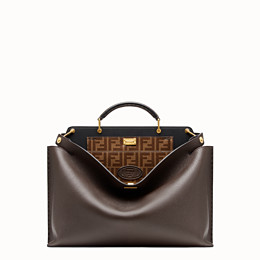FENDI PEEKABOO ICONIC ESSENTIAL - Brown leather bag - view 1 thumbnail