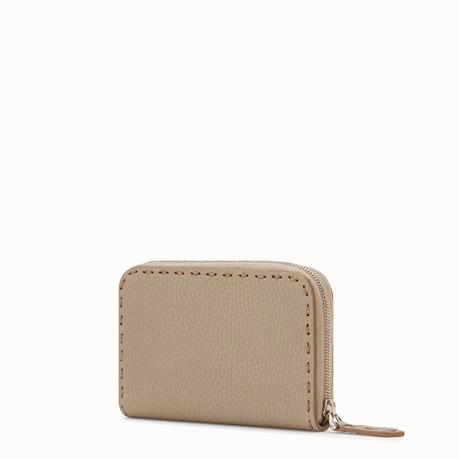 FENDI SMALL ZIP-AROUND - Beige leather wallet - view 2 detail