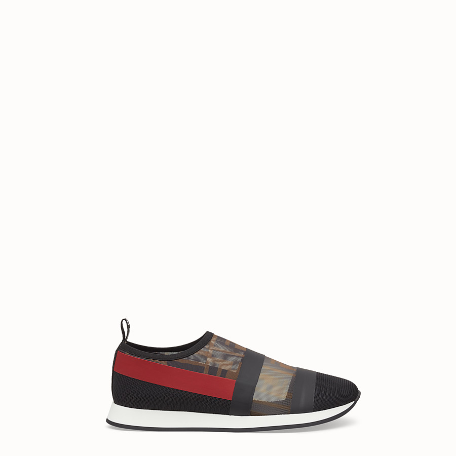 FENDI SNEAKERS - Multicolour mesh and tulle slip ons - view 1 detail