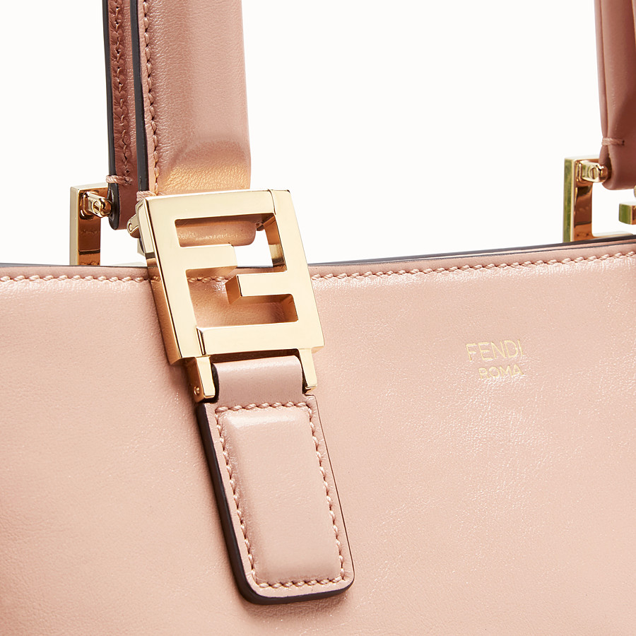 FENDI FF TOTE SMALL - Pink leather bag - view 6 detail
