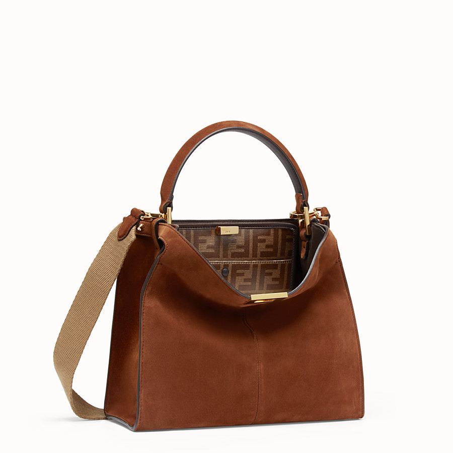 FENDI PEEKABOO X-LITE REGULAR - Brown suede bag - view 4 detail