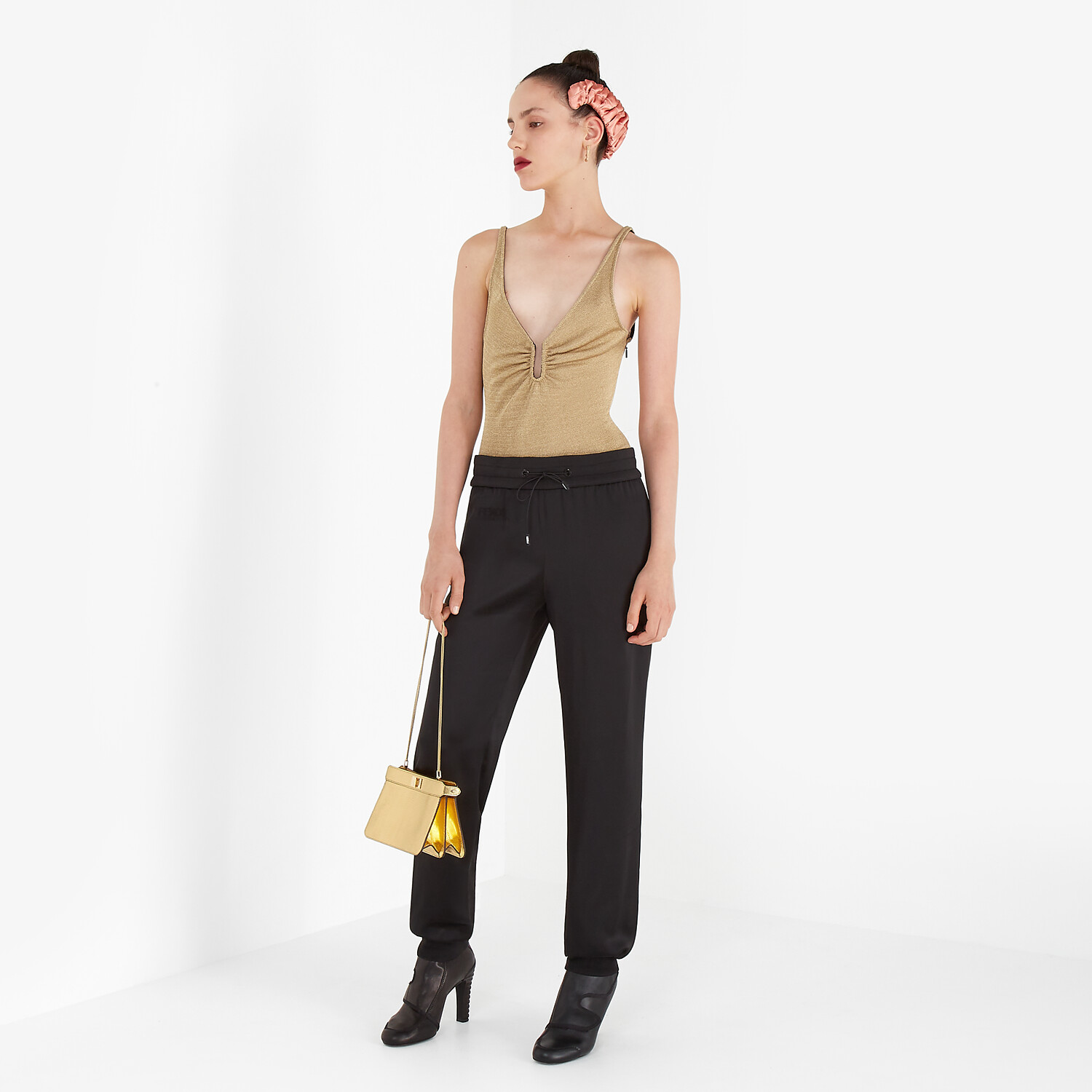 FENDI JUMPSUIT - Black satin sweatshirt and pants - view 7 detail