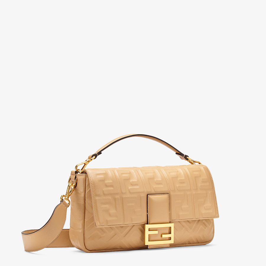 FENDI BAGUETTE LARGE - Beige leather bag - view 3 detail