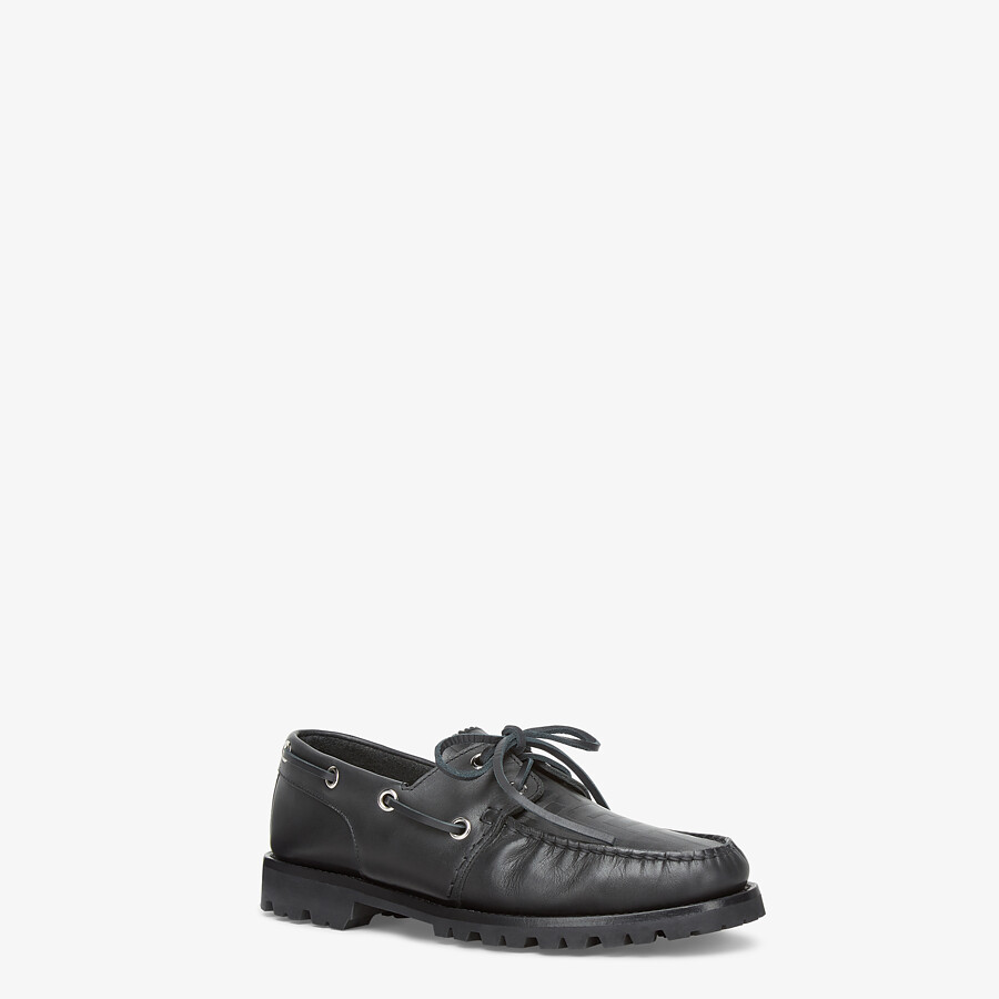 FENDI LOAFERS - Black leather loafers - view 2 detail