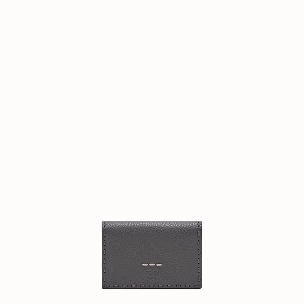 FENDI CARD HOLDER - Grey Romano leather card holder - view 1 small thumbnail