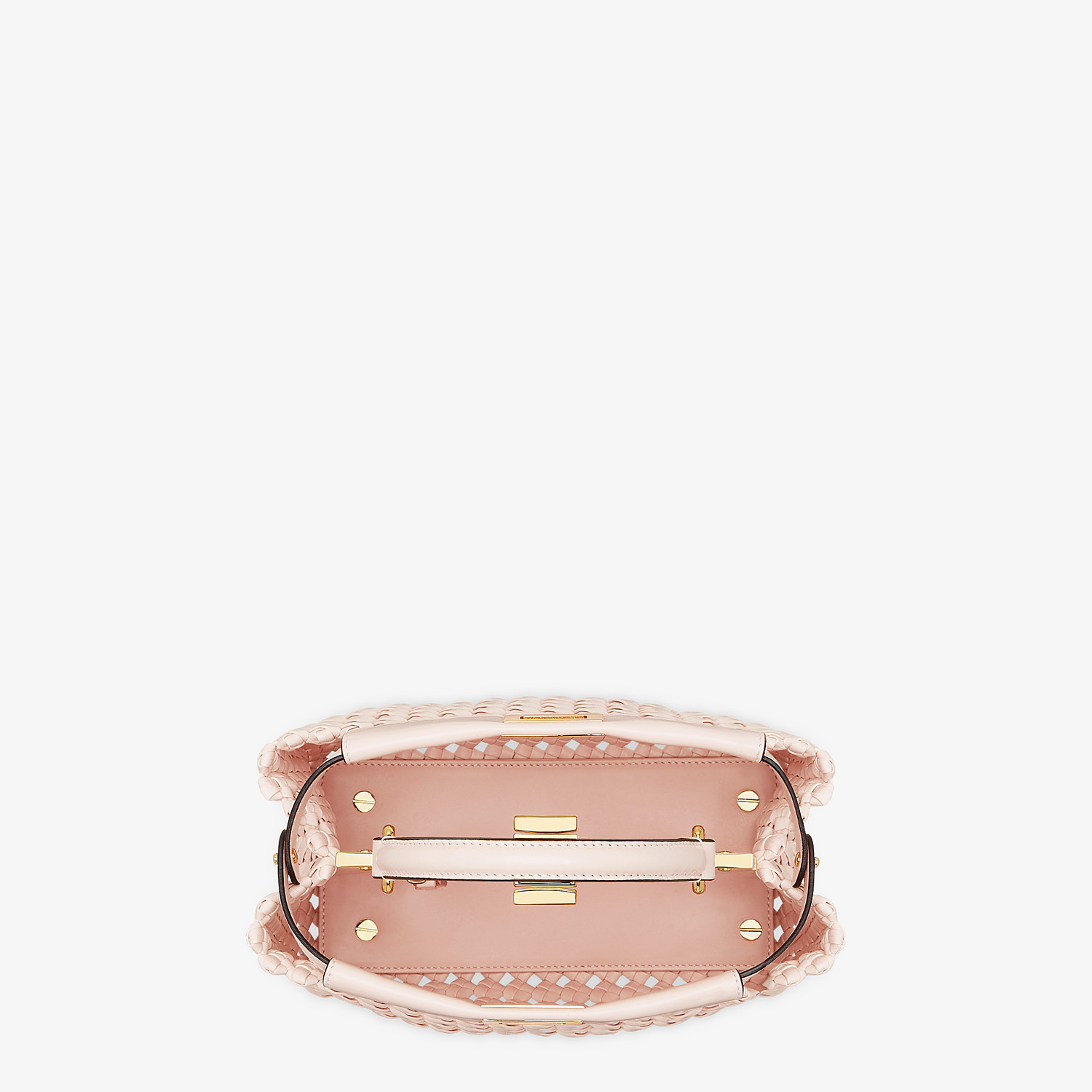 FENDI PEEKABOO ICONIC MINI - Pink leather interlace bag - view 4 detail