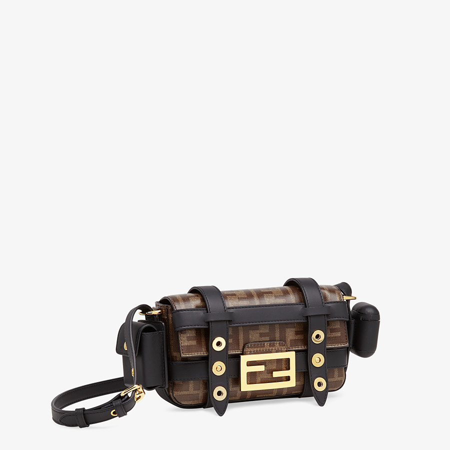FENDI BAGUETTE MINI CAGE - Multicolor leather and fabric bag - view 4 detail