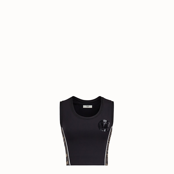 FENDI TROUSERS - Black stretch jersey bike shorts - view 1 small thumbnail
