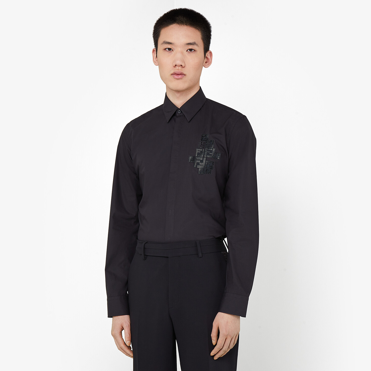 FENDI SHIRT - Black poplin shirt - view 4 detail