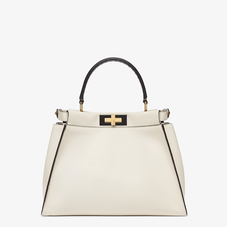 FENDI PEEKABOO ICONIC MEDIUM - White leather and FF embroidery bag - view 4 detail