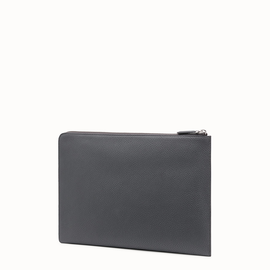 FENDI DOCUMENT CASE - Grey leather clutch - view 2 detail