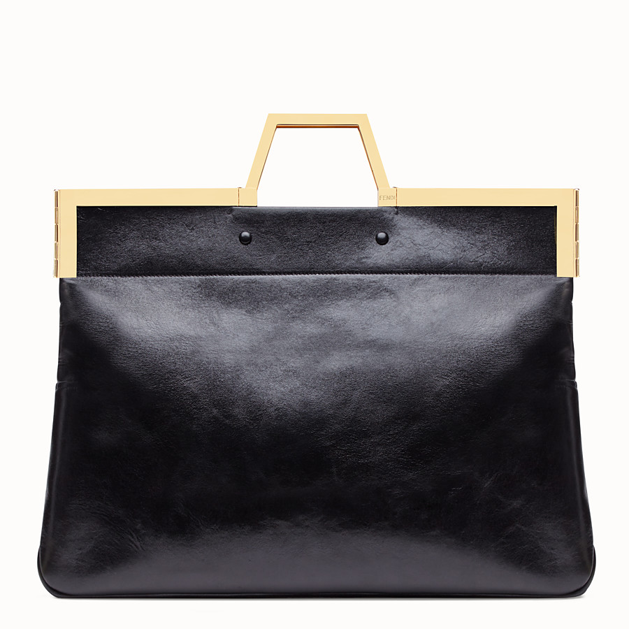 FENDI LARGE FLAT SHOPPING BAG - Black leather shopper - view 5 detail