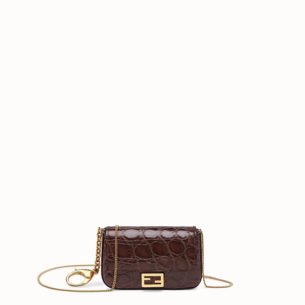 FENDI NANO BAGUETTE CHARM - Brown cayman charm - view 1 small thumbnail