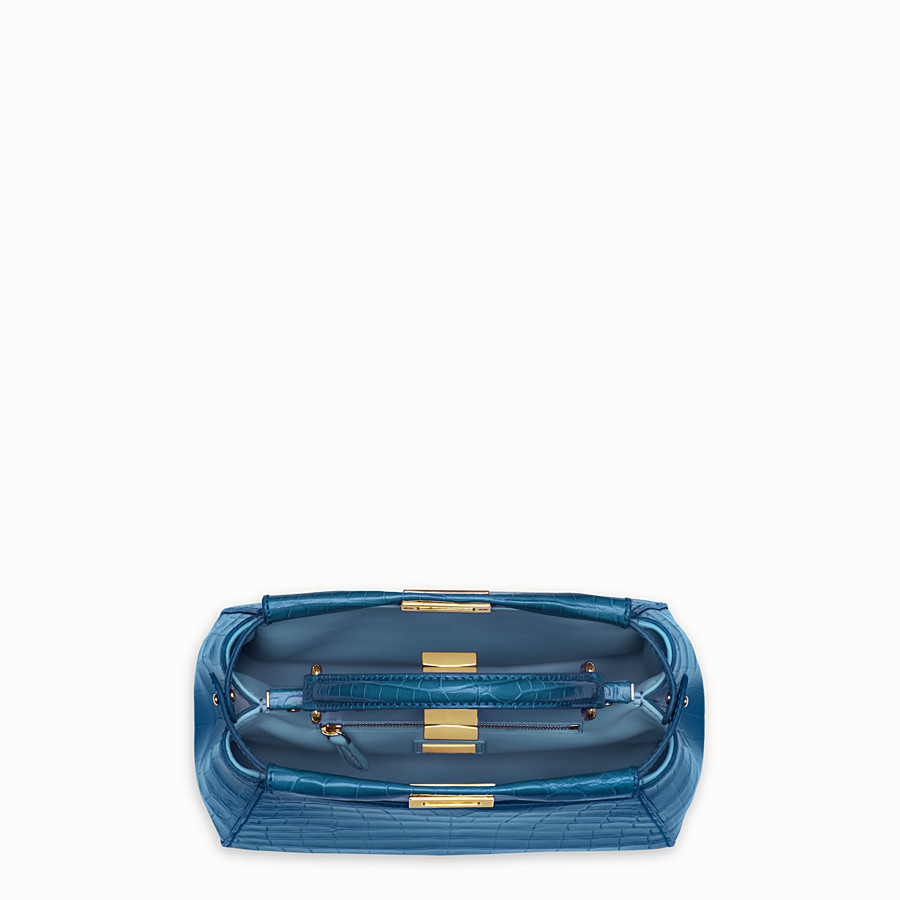FENDI PEEKABOO MINI - Blue crocodile leather handbag. - view 4 detail