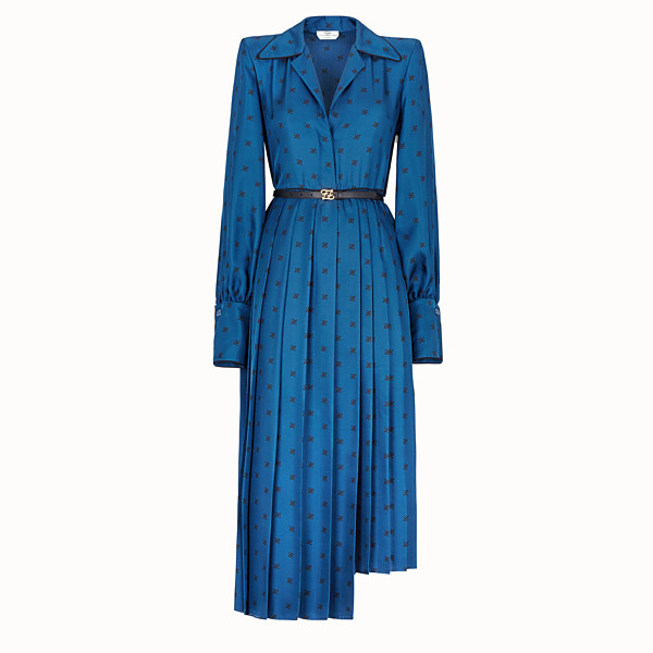 FENDI ROBE - Robe en soie bleue - view 1 small thumbnail