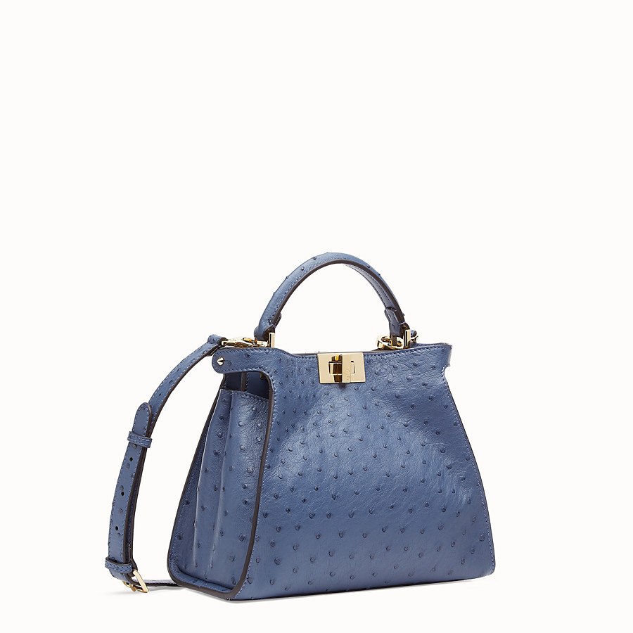 FENDI PEEKABOO ICONIC ESSENTIALLY - Blue ostrich leather bag - view 2 detail
