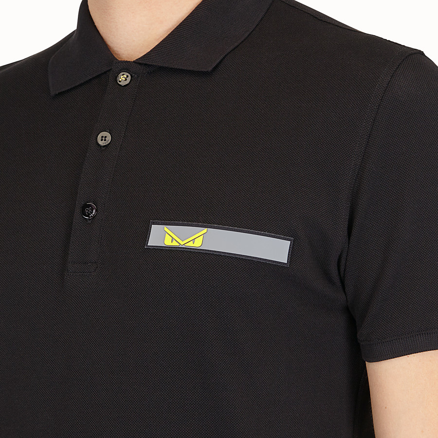 FENDI POLO SHIRT - Black cotton shirt - view 4 detail