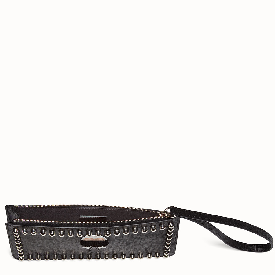 FENDI KARLITO FLAT POUCH - in black leather with inlay - view 4 detail