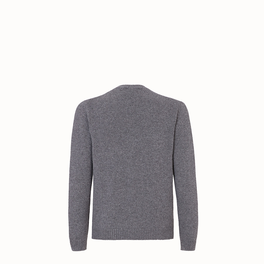 FENDI PULLOVER  - Grey cashmere jumper - view 2 detail