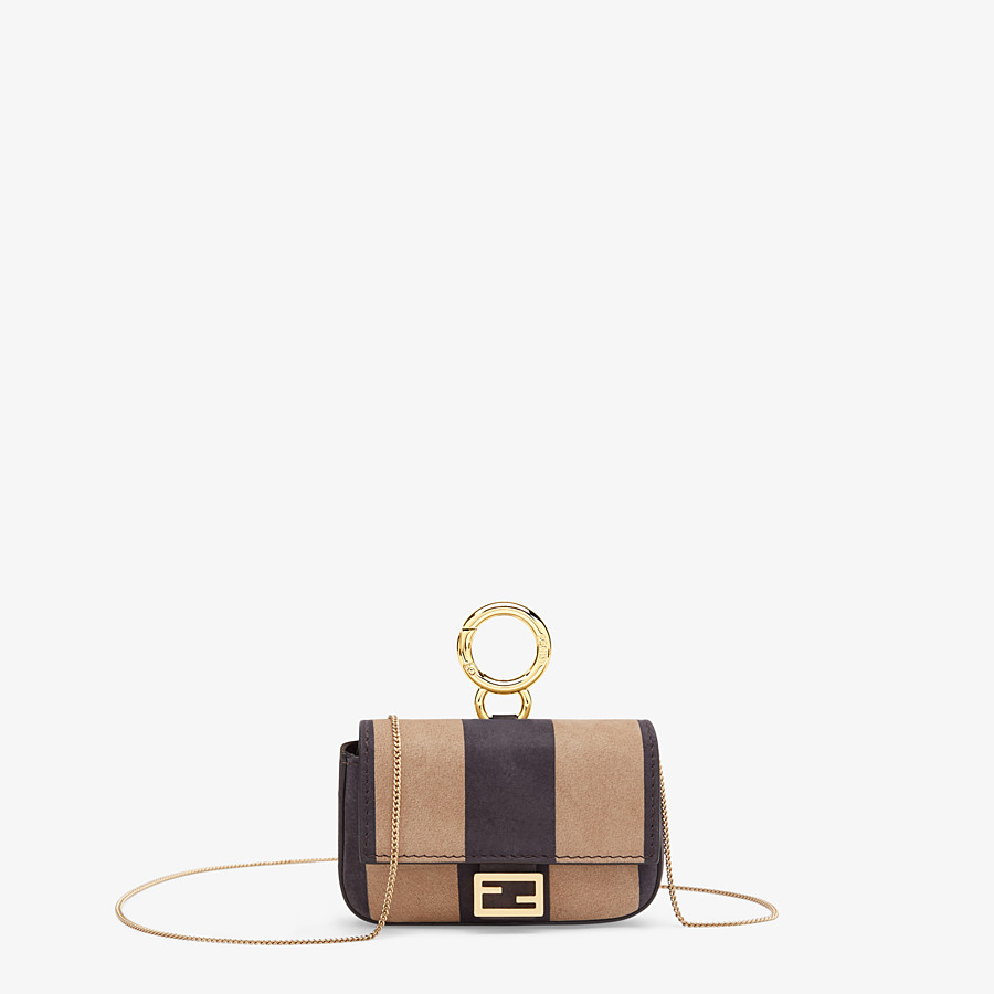 FENDI NANO BAGUETTE - Charm in brown nubuck leather - view 1 detail
