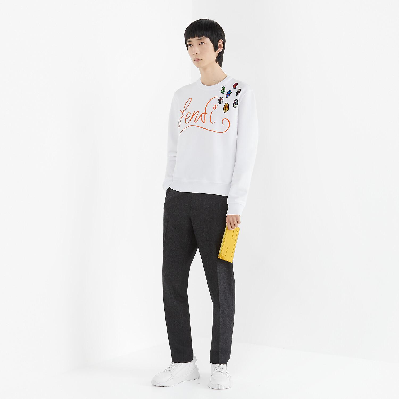 FENDI SWEATSHIRT - White jersey sweatshirt - view 4 detail