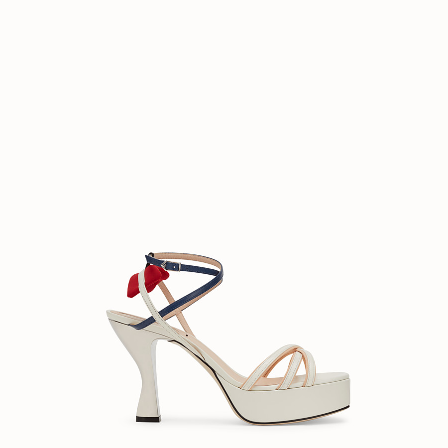 FENDI SANDALS - White leather sandals - view 1 detail