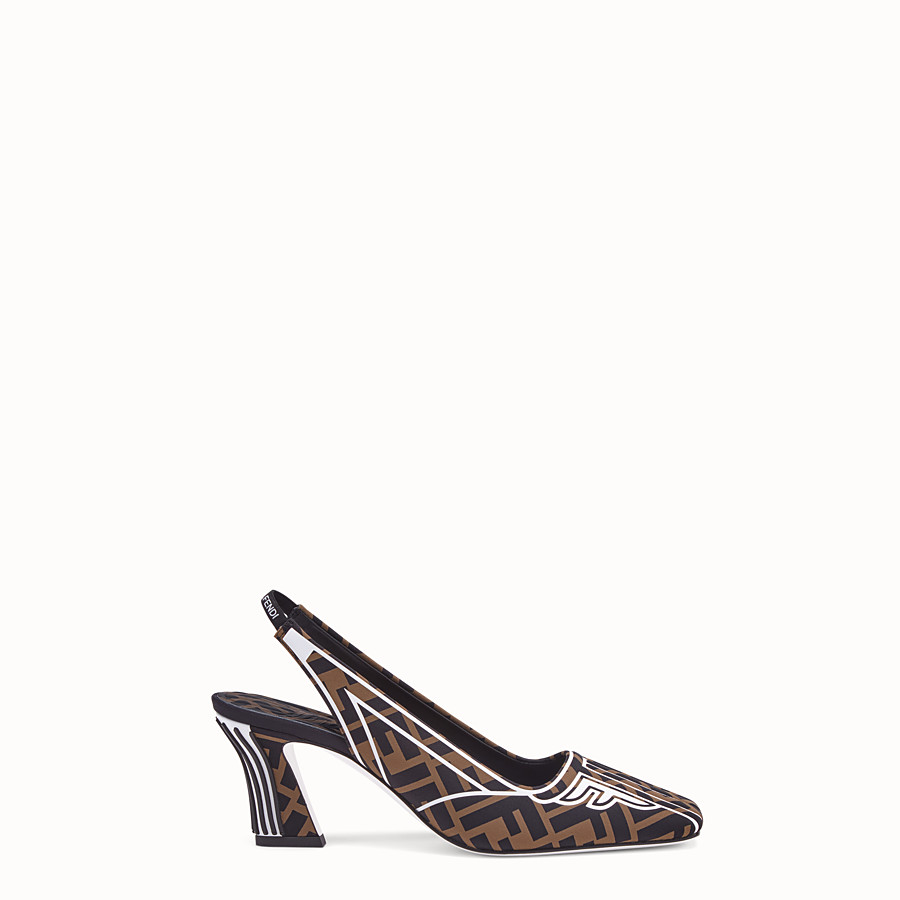 FENDI COURT SHOES - Slingbacks in brown fabric - view 1 detail