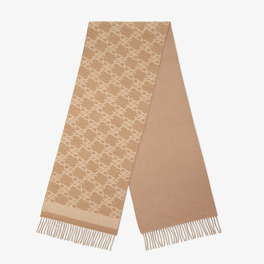 FENDI KARL SCARF - Beige wool and cashmere scarf - view 1 detail