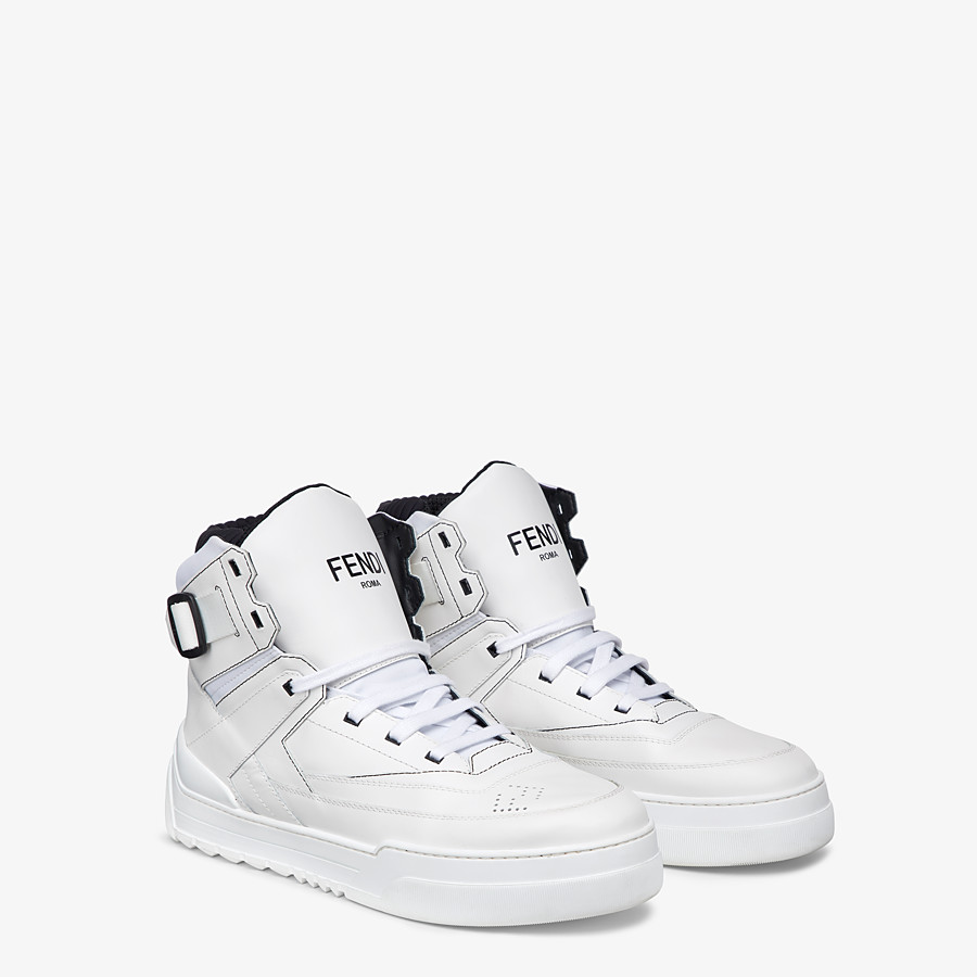 FENDI SNEAKERS - White leather high-tops - view 4 detail