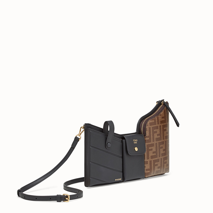 FENDI 3 POCKETS MINI BAG - Black leather messenger - view 2 detail