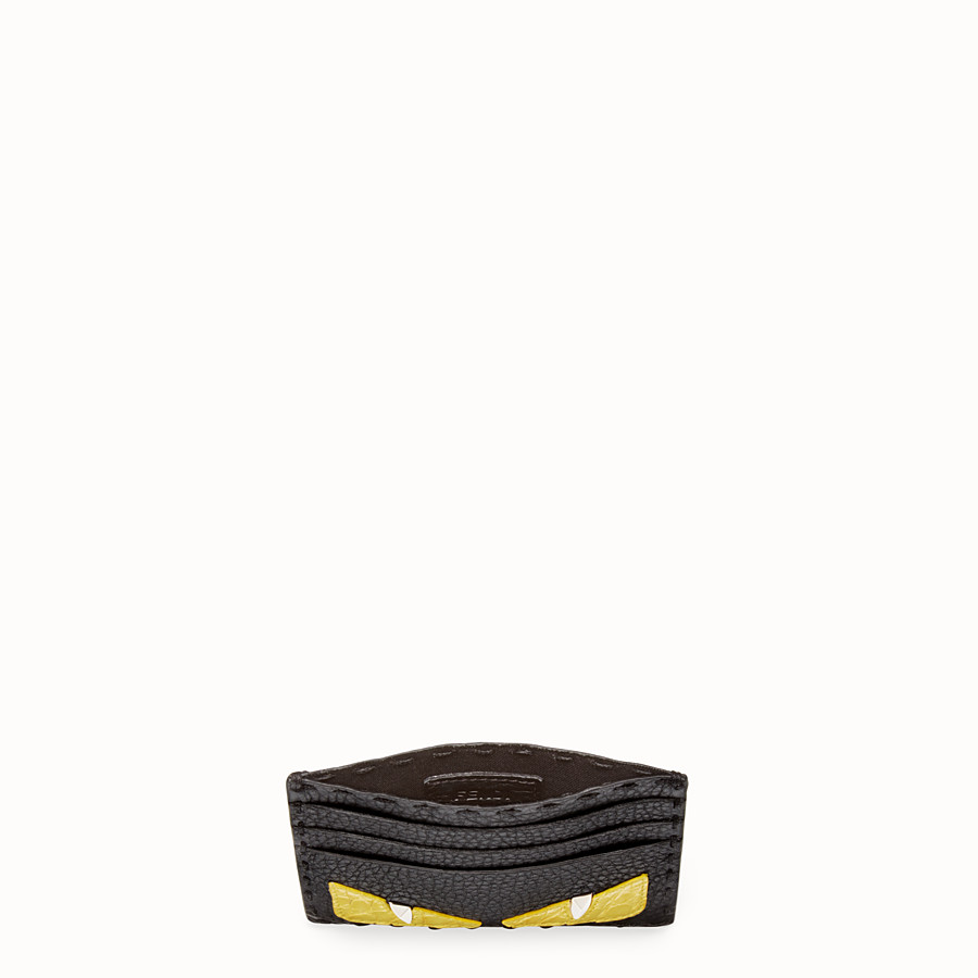 FENDI CARD HOLDER - Black Roman leather card holder with exotic leather details - view 3 detail