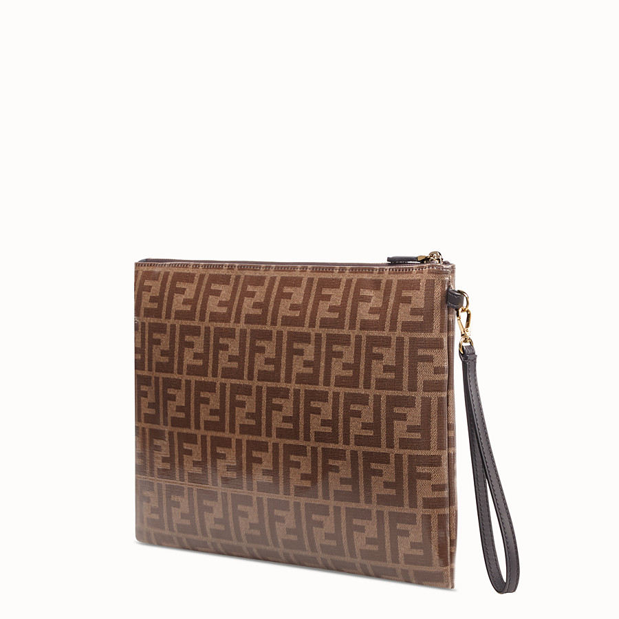 FENDI FLAT POUCH LARGE - Brown fabric pouch - view 2 detail