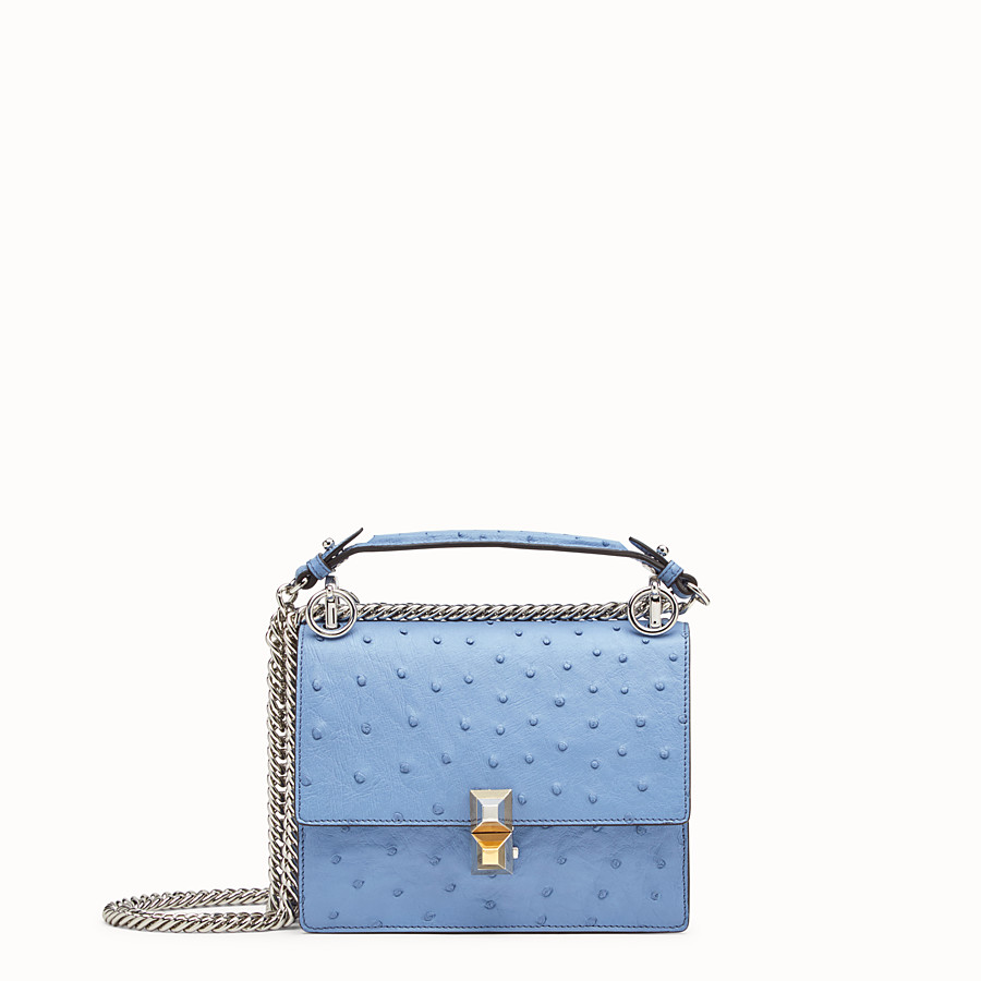 FENDI KAN I SMALL - Light blue ostrich mini-bag - view 1 detail