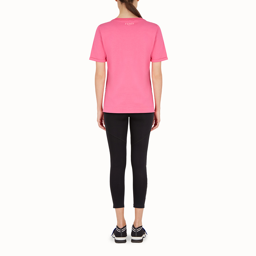 FENDI T-SHIRT - T-shirt en coton rose - view 3 detail