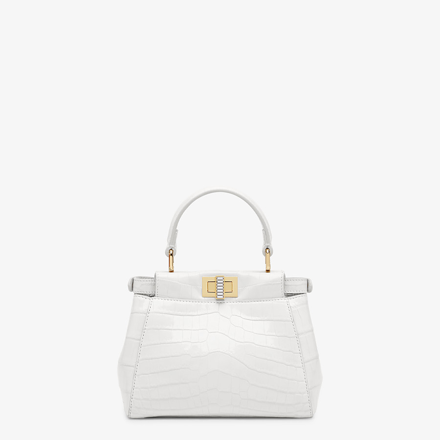 FENDI PEEKABOO ICONIC XS - Mini-bag in white crocodile - view 3 detail